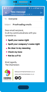 Email interface on smartphone showing top tips for proofreading.