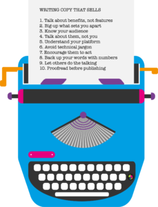 Colourful writer, with paper listing the 10 tips for writing copy that sells